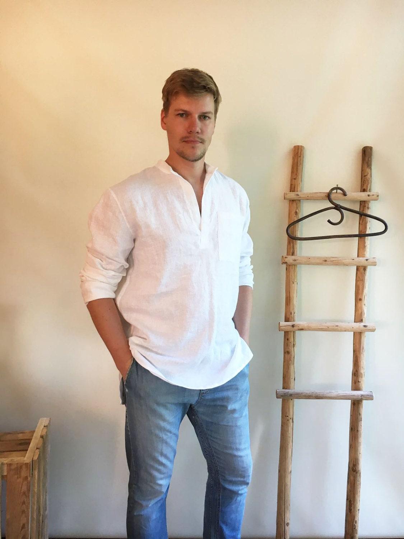 Linen Shirt Men Mens White Dress Long Sleeve Loose Clothing Boho Beach Wedding Plus Size Gift