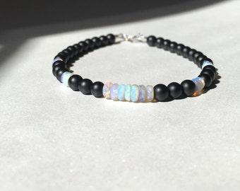 Australian Opal bracelet, 14k white gold bracelet, onyx bracelet, Opal beaded bracelet, October birthstone, edgy Opal jewelry, fine jewelry