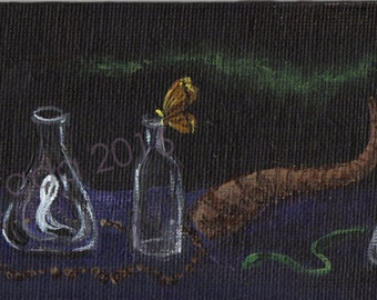 Alchemist's workshop gothic Halloween painting 3 x 9 miniature Victorian witch occult spell ghost bottle hourglass pagan