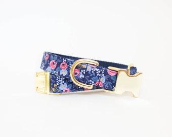 Les Fleurs Rosa Flora Dog Collar in Navy