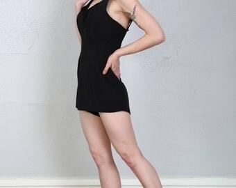 SALE- Vintage Swim Suit Black White Flower