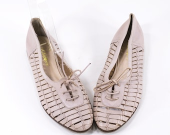 Woven Leather Flats Vintage Lace Up Oxfords Light Pink Loafers Size 7