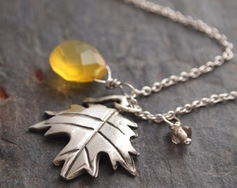 Gemstone and Maple Leaf Necklace