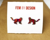 Cat Earrings Studs, Multicolored Cat Earrings Kitten Jewelry, Multi Color Earrings, Kitten Animal Earrings, Handmade Shrink Plastic Earrings