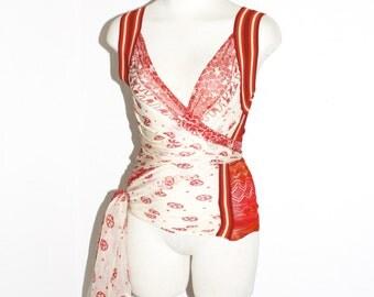 JEAN PAUL GAULTIER Maille Vintage Sheer Silk Peace Sign Wrap Around Vest Top