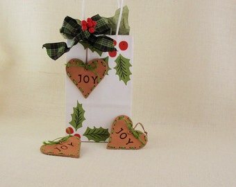 """Ceramic """"Joy"""" Tree Ornaments / Package Tie-Ons - Set of 3 Hearts - Stiched Twine on Edges - Holiday Gift Package Decoration - Wishing Joy"""
