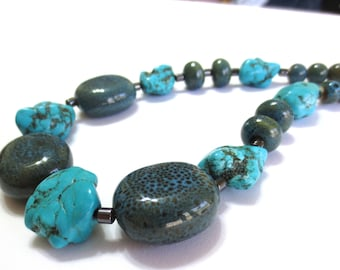 Men's Stone Necklace, Turquoise & Ceramic Bead, 22-Inch Necklace