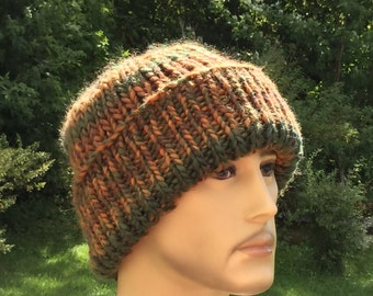 Knit chunky hat / Mens beanie hat with brim /  Beanie with brim / Mens winter hat / Brown men's hat / knit slouchy hat / Ready to Ship