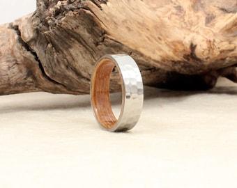 Hammered Cobalt Wooden Ring Lined with Bourbon Barrel White Oak Wooden Ring