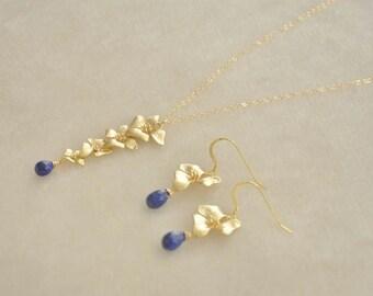 Gold Cascading Dogwood Flowers Jewelry Set with Dark Blue Lapis Lazuli Gemstones - Necklace and Matching Earrings,Feminine Elegant Jewelry