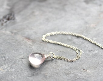 Pink Rose Quartz Necklace, Pendant Style Drop, Glowing Pink Stone, Sterling Silver