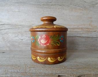wood jar with lid  vintage wooden storage jar  hand painted folk art  boho home decor