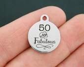 50 and Fabulous Stainless Steel Charm - Exclusive Line - Quantity Options - BFS753