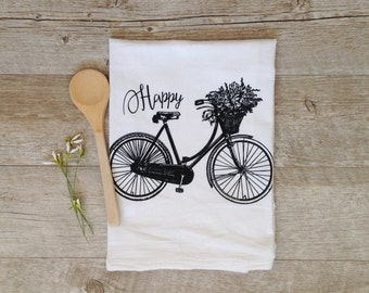Tea Towel Bicycle Tea Towel Spring Tea Towel Flour Sack Happy Tea Towel Rustic Home Decor Kitchen Towel Farmhouse Decor Vintage Bike