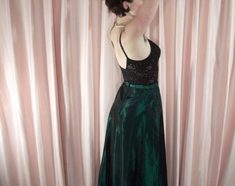 Dramatic Shiny Emerald Satin Maxi Skirt