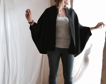 Black Raglan Open Jacket Cardigan in Twill Weave - Classic Minimal Chic.  Made to Order