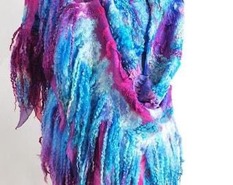"""Shawl boho handmade felted """"Exotica"""" (shawls boho-chic handmade felted buy)"""