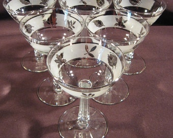 Set of 6 Libbey 5-ounce Silver Foliage Stemware