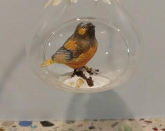 Blue Bird in Open Glass Globe Christmas Ornament