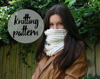 Knitting Pattern for Puff Stitch Cowl Infinity Scarf / Easy Knitting Cowl Scarf Project / Instant PDF Digital Download