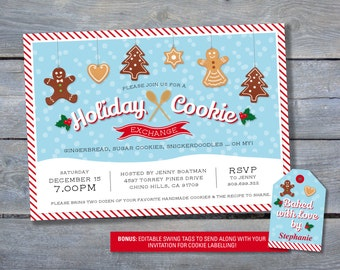 COOKIE EXCHANGE Invitations for Christmas Cookie Swap Printable File - 5x7 Personalized - Bonus Editable Cookie Labels - Happy Holidays
