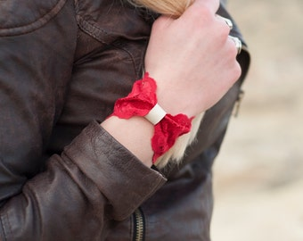 Red Lace Bow Cuff Bracelet, Bowtie Faux Leather Lace Wrist Cuff Womens Gift for Her Stretch Bracelet Wrist Cuff Bracelet, Wrist Tattoo Cover