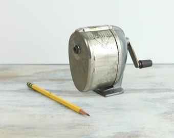 Vintage Boston L Pencil Sharpener, Gun Metal Gray base & Hand Crank