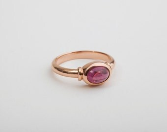 Rhodolite Ring, January Birthstone Ring, Aquarius Ring, Garnet Rose Gold Ring Gift for Her, Oval Pink Gemstone Solitaire Ring