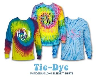 TIE DYE Long Sleeve T-Shirt, Tie Dye Long Sleeve, Monogram Shirt, Monogrammed Tie Dyed Shirt, Monogram Tie Die Long Sleeve