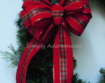 Red Velvet Plaid Christmas Bow Red Velvet Tartan Wreath Bow Red Weatherproof Bow Indoor/ Outdoor Red Bow Lamp Post Bow Garland Swag Door Bow