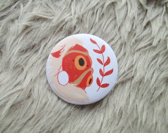 San's Mask Badge, Princess Mononoke Mask, 56mm Badge Pin, Matte, Red, Spirit, Anime Character, Miyazaki, Anime, Studio Ghibli, Japanese