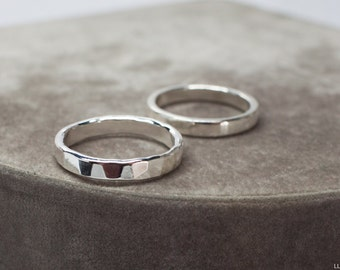 Wide Pure Silver Ring - Sterling silver faceted ring, 3mm wide stacking ring, stackable 925 silver ring
