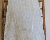 """Hand Woven Table Runner - White Cotton Linen with Blue Warp and Fringe 14"""" x 68"""""""