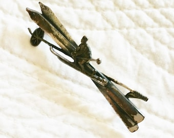 Vintage Romantic Home Silver Skier Brooch, Olives and Doves