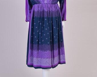 Vintage Silk Dress 1970s Purple Dress Knee Length