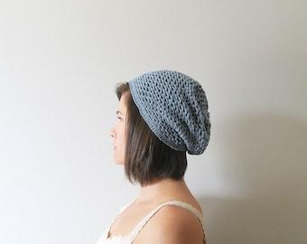 Crochet Slouchy Hat for Women, Knit Beret Hat Women Summer Beret, Cotton Hats Women, Slouch Hat Womens Boho Hat, Beret Hat for Women