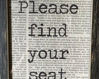 Literary Wedding Seating Sign 5x7 / Please Find Your Seat / Encyclopedia Vintage Book Page Sign
