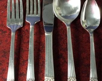 CORONATION by COMMUNITY,  Art Deco,  5 pc Place Setting, Service for 6 Dinner Set, Vintage 1936,  SilverPlate by Oneida Community Flatware