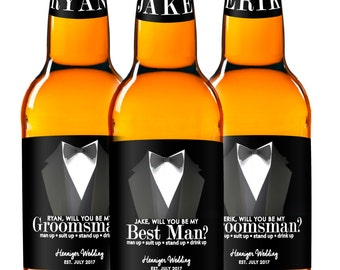 Beer Labels - Will You Be My Groomsman - Best Man - Suit Up Groomsman - Custom Beer Labels - Best Groomsmen Gifts - Tuxedo Beer Stickers