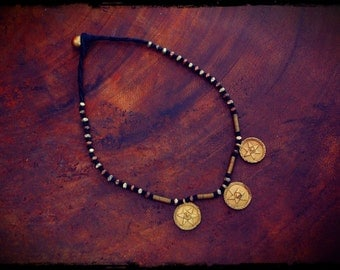African Brass Amulet Cotton Necklace