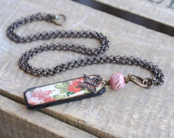 Mixed Media Necklace with Artisan Wood Tile Pendant. Red & Pink Floral Necklace. Art Bead Necklace. Bohemian, Summer Jewelry. Wearable Art