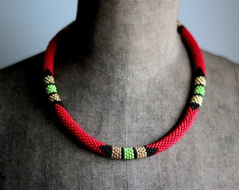 Red Maasai Necklace, Red and Gold Necklace, African Necklace, Red, Black and Gold Handbeaded Necklace, Native Beadwork - MADE TO ORDER
