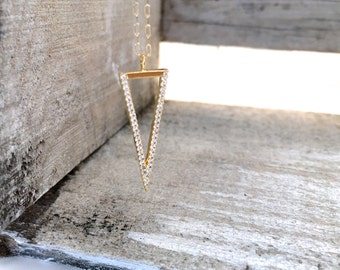 Long Gold Pave Inverted Triangle Necklace, Inverted Triangle CZ Necklace, Silver Pave Triangle CZ Necklace, Gift for Mom, Everyday Jewelry