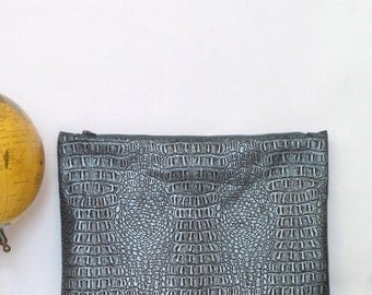 Large Clutch / Oversized Clutch Bag / Fold over Clutch Bag /  Clutch Bag / Clutch Purse  / Handbag / Purse/ Sliver Gray Faux Leather