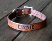 """Leather Dog Collar - Custom 1"""" Dog Collar - Engraved Pet ID - Handmade Leather Pet Collar - Solid Brass - Small or Large Breed - Rustic"""