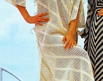 Mesh Beach Caftan Vintage Crochet Pattern Download