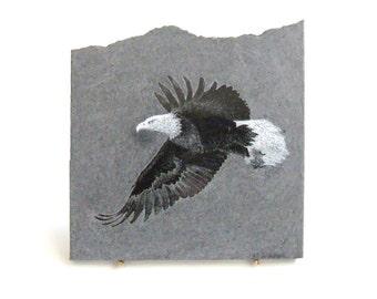 Bald Eagle Etching on Black Granite Slab, Unique Gift Home Decor, Decorative Tile, Engraved Granite, Wildlife Art, Fine Art Granite Etchings
