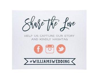 Share the Love Wedding Sign ~ Social Media Wedding Sign ~ Wedding Art Print ~ PRINTED Wedding Sign