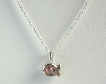 Fish Pendant - Vintage Necklace - Silver - Pink - Cats Eye Necklace - Dainty Necklace