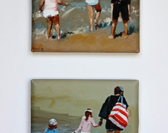 Tiny Canvas Duo | Beach Art | Canvas Prints | Wall Art | Children Playing | Small Art Prints | Present | Collectible Art | Art Gift